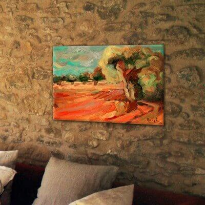 cuadros modernos paisajes para el comedor-campo de olivos