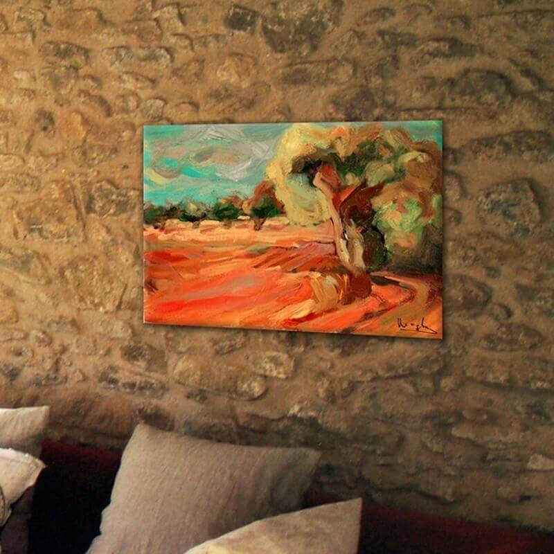 modern Landscape paintings for the diving room- olive field