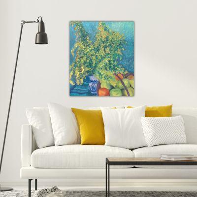 cuadros modernos abstractos de bodegones para el comedor-flor de mimosa