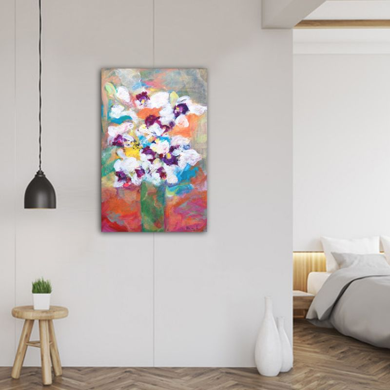 cuadro moderno de flores para el dormitorio-flor blanca