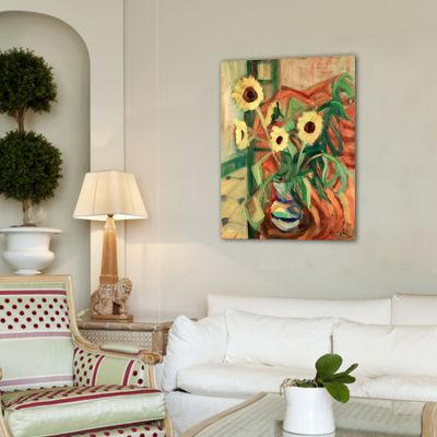 modern flower painting-vase with sunflowers