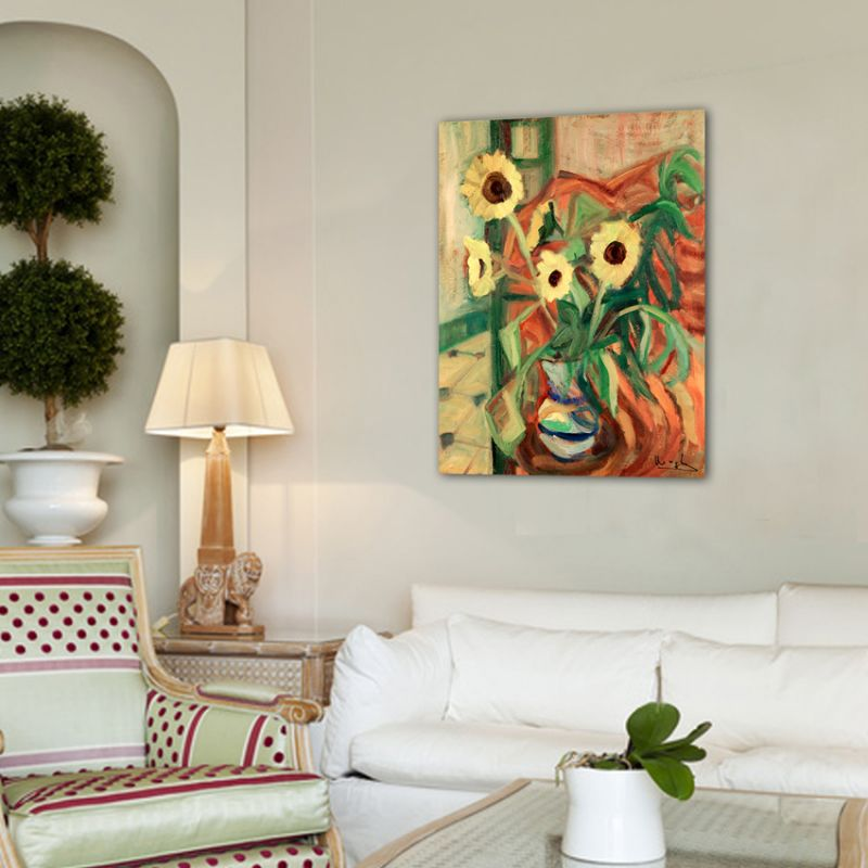 Quadres moderns de flors-gerro amb girasols