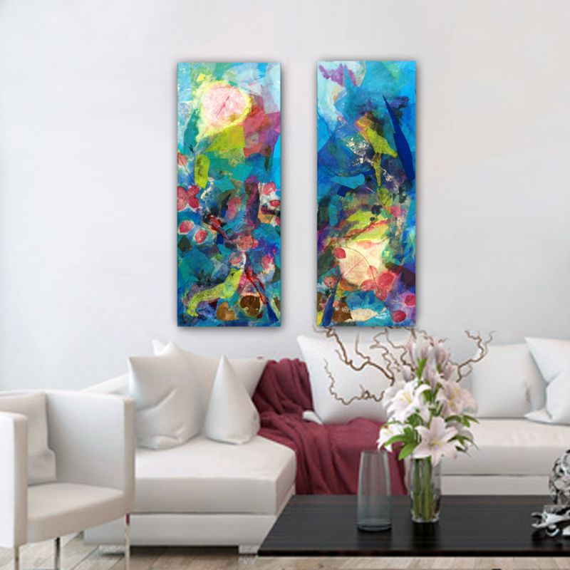 modern and colorful flower paintings to living room- diptych symphony-harmony of colors
