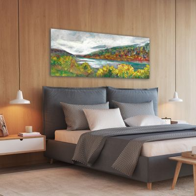 modern landscape paintings of a lake for the bedroom-lake in autumn