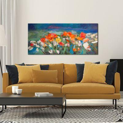 modern tableau fleurs pour le salon-prairie de fleurs