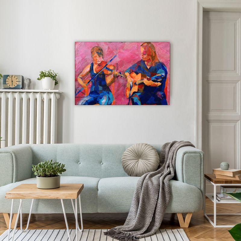 cuadros musicales para decorar el salón-comedor -dueto de músicos