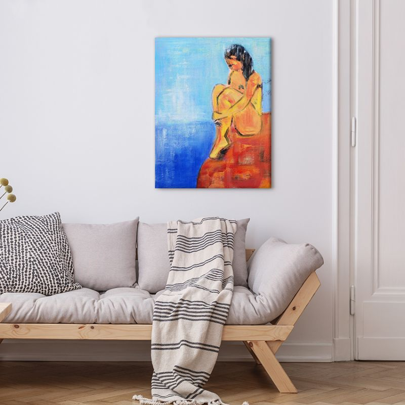 figurative modern paintings-woman and sea