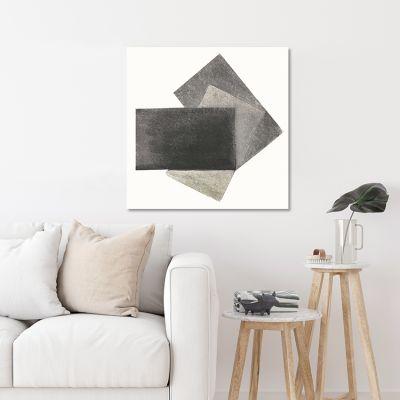 cuadro moderno geométrico para el salón- gris-negro