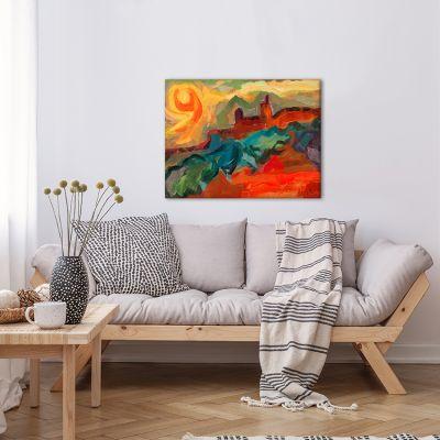 cuadros modernos paisajes para el comedor-sol rojizo