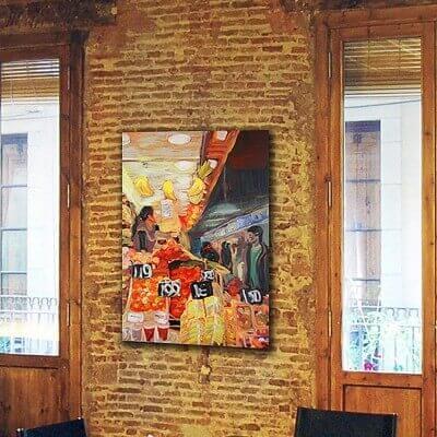 cuadros modernos urbanos para el comedor-mercado de la Boquería Barcelona