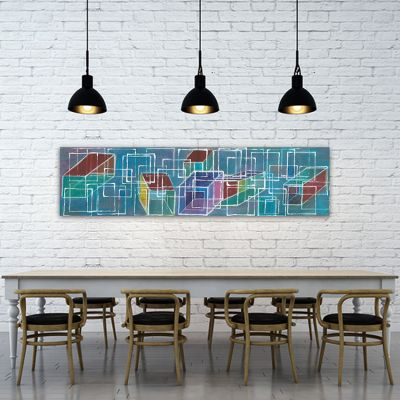 modern geometric painting for the dining room- structure and dimension II