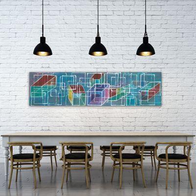 tableau géométrique moderne pour le salon - structure et dimension II
