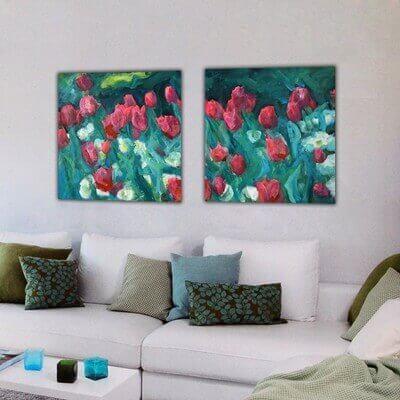 cuadros modernos de flores para el salón-díptico tulipanes