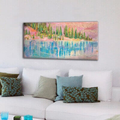 Landscape modern paintings for the diving room-lake reflection II