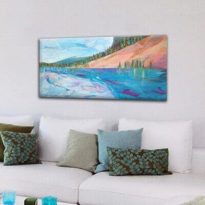 modern Landscape paintings for the living room-lake reflection I