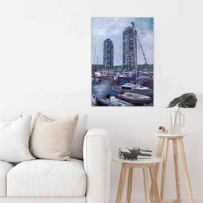 cuadros modernos urbanos para el comedor-puerto olímpico
