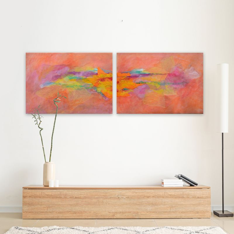 cuadros abstractos modernos-díptico sueños