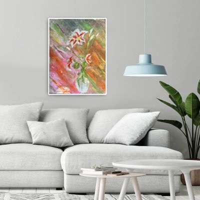 quadre abstracte modern per decorar el menjador -flors de lliri