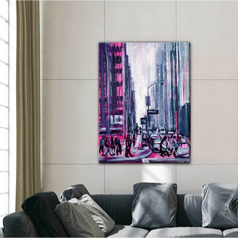 modern urban painting for the dining room-Manhattan, New York
