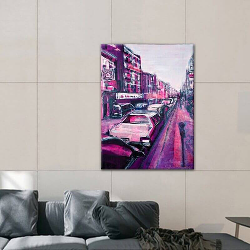 modern urban paintings for the dining room-street in New York