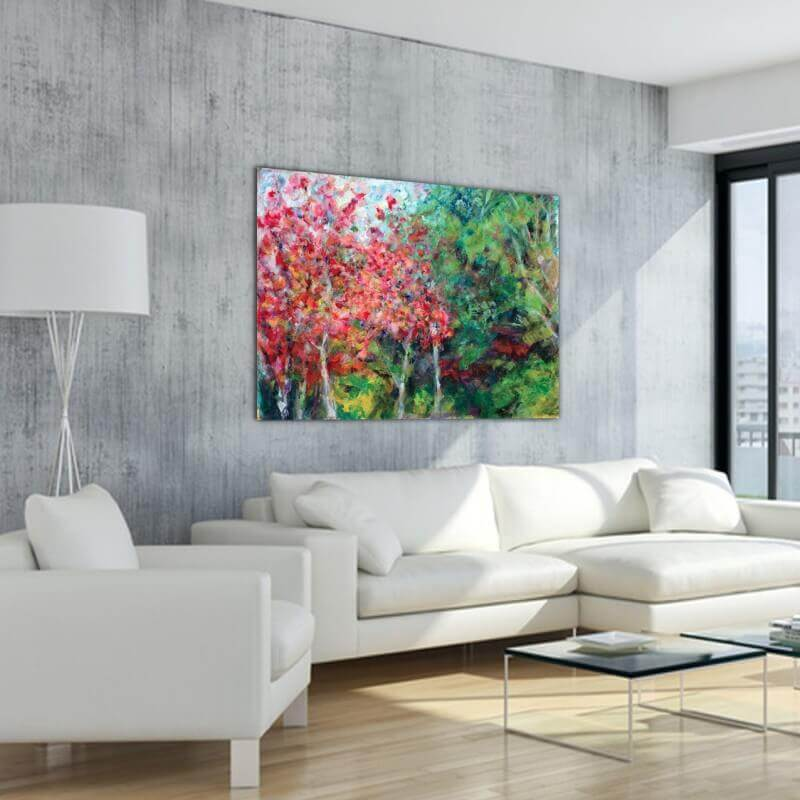 cuadros modernos paisajes árboles en otoño