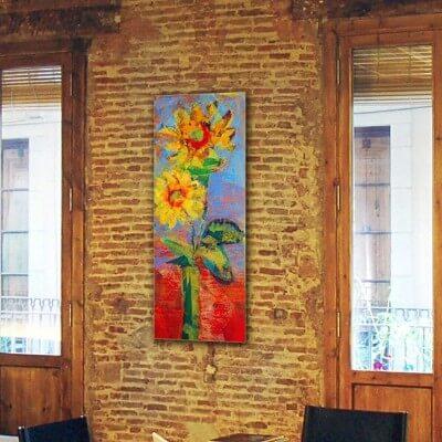 cuadros modernos florales para el comedor -girasoles