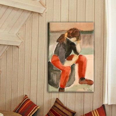 cuadros modernos figurativo  joven pensativa