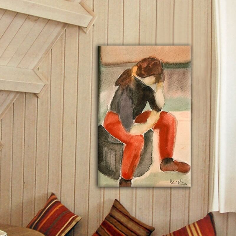 Figurative painting pensive girl
