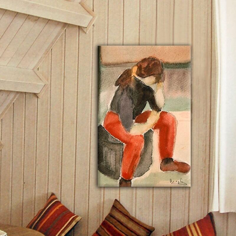 cuadro figurativo joven pensativa