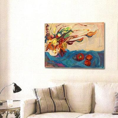 cuadros modernos abstractos bodegones ramo y manzanas