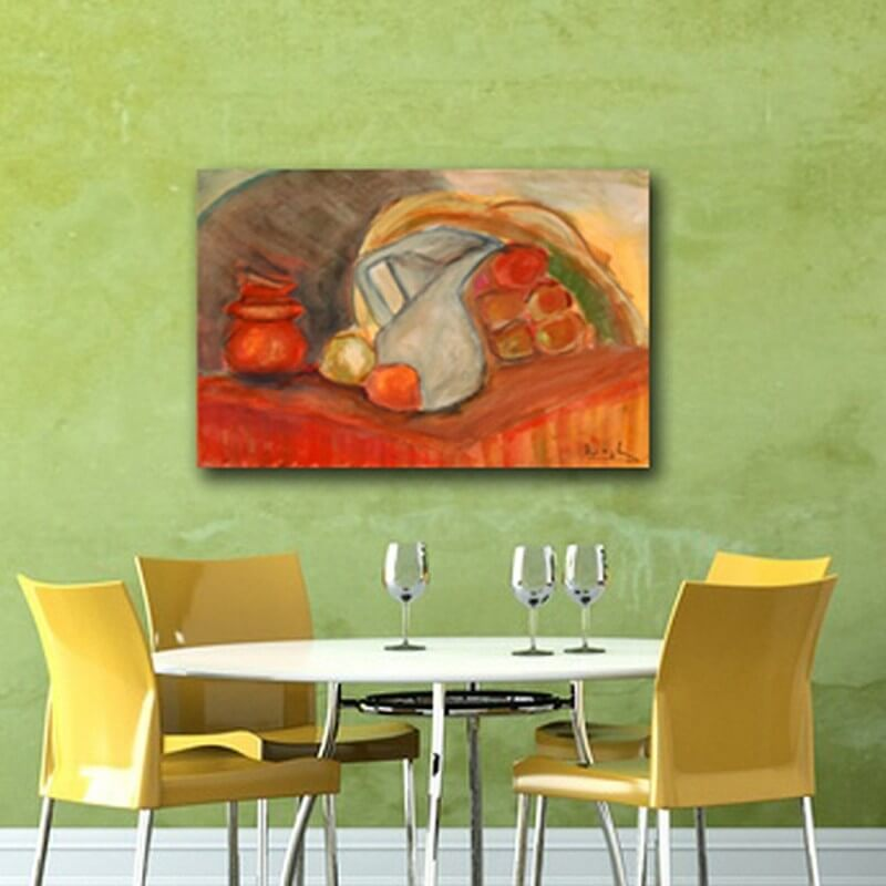 modern abstract paintings to decorate the dining room-empty jug and fruit