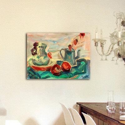 cuadros modernos abstractos bodegones para el salón-jarra manzanas y tetera