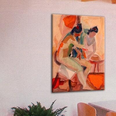 Tableau moderne figuratif-femme devant le miroir