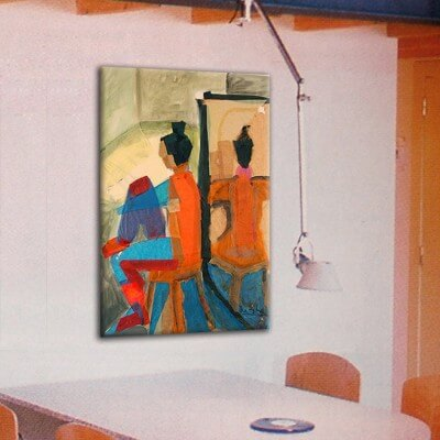 Figurative painting woman with her back to a mirror