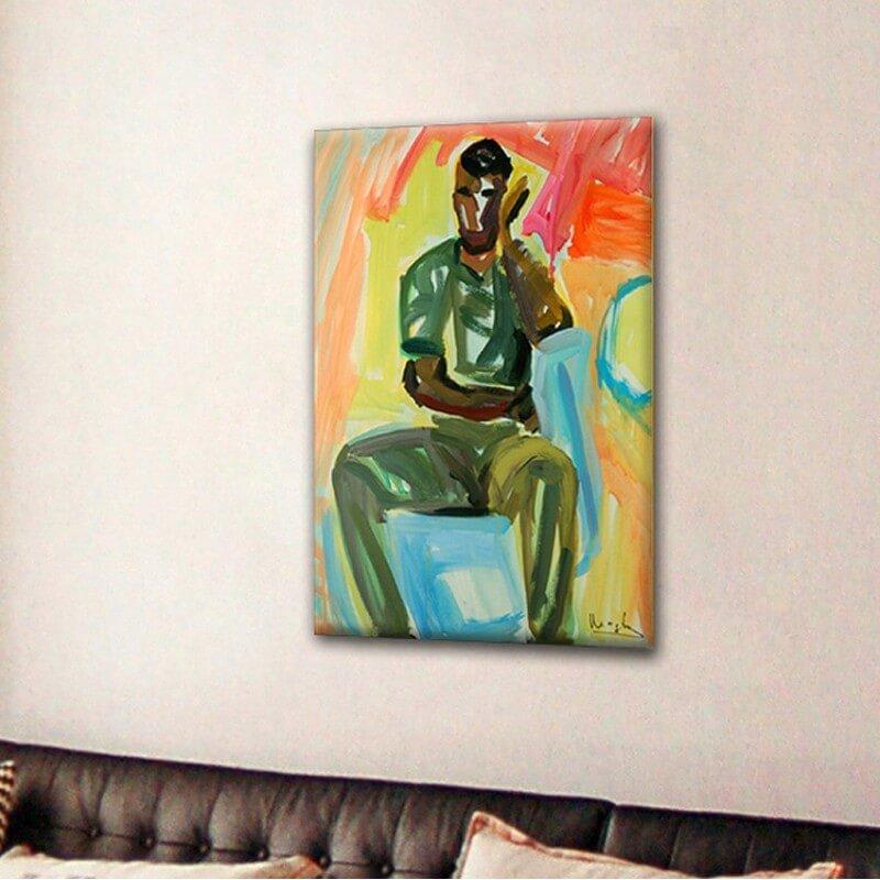 cuadros modernos figurativo  hombre de cara