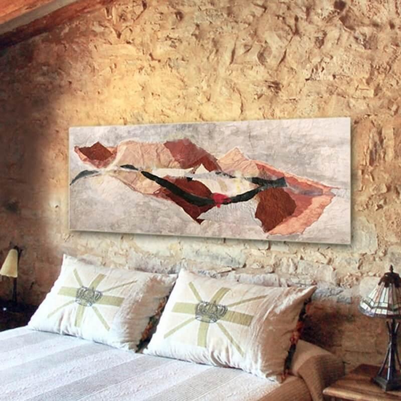 cuadros modernos abstractos para decorar el dormitorio - tierra lejana