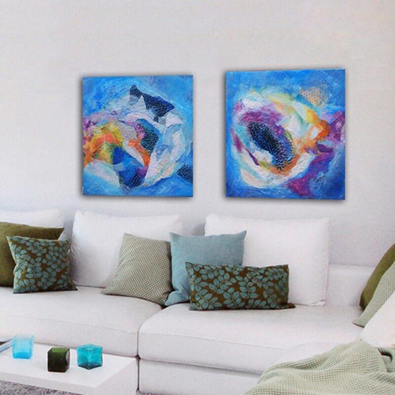 cuadros modernos abstractos para decorar el salón - díptico nebulosa celeste