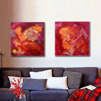 Abstract painting diptych solar energy