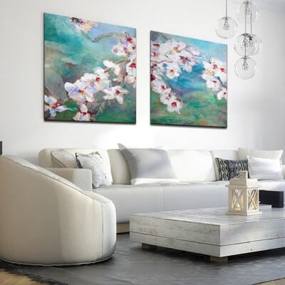 Flower painting diptych almond blossoms