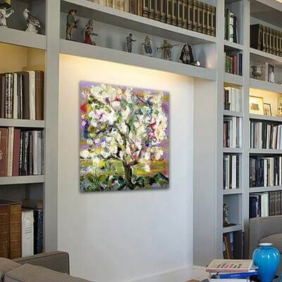 cuadros modernos de flores para el comedor -almendro en flor