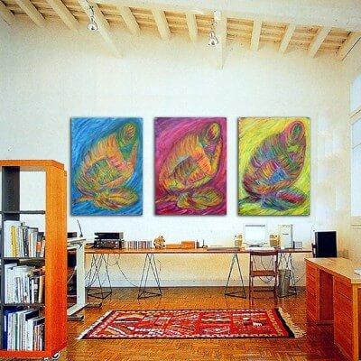 quadre figuratiu tríptic recollir-se
