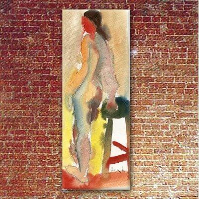 Tableau figuratif femme et tabouret