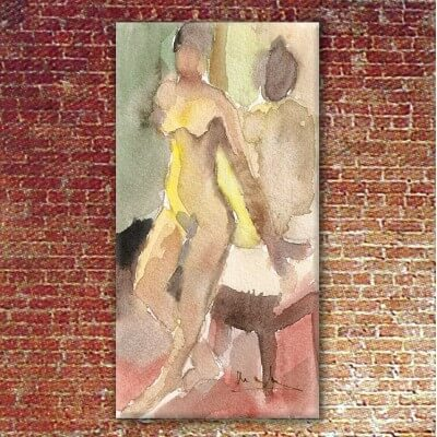 Figurative painting woman back to the mirror