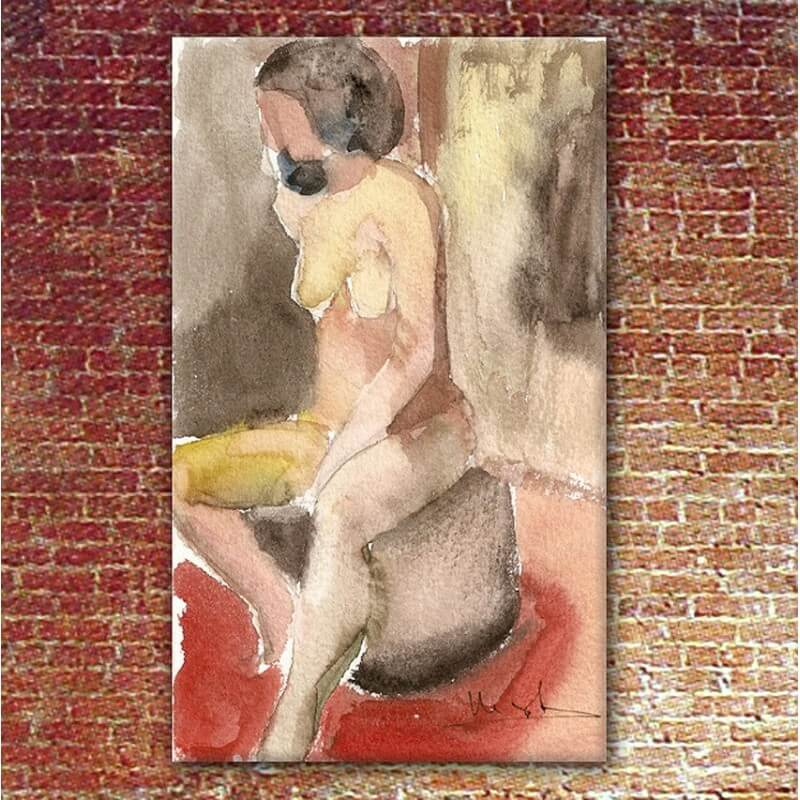 Figurative painting woman thinking