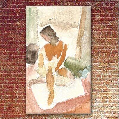 cuadros modernos figurativos para el salón-mujer y alfombra