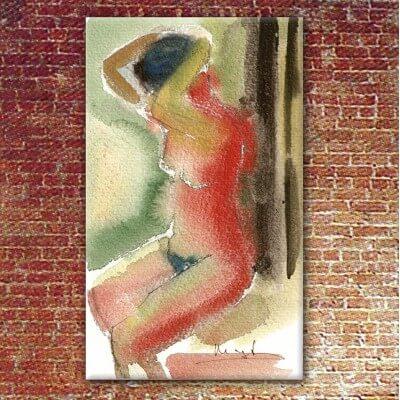 quadres moderns figuratius pel dormitori-dona pentinant-se