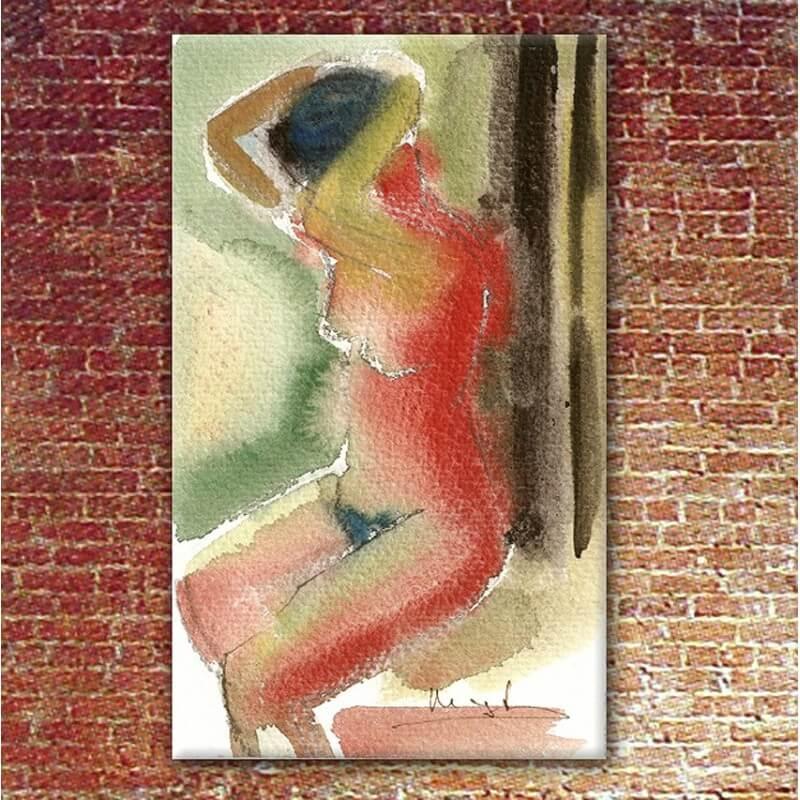 Tableau figuratif femme peignant