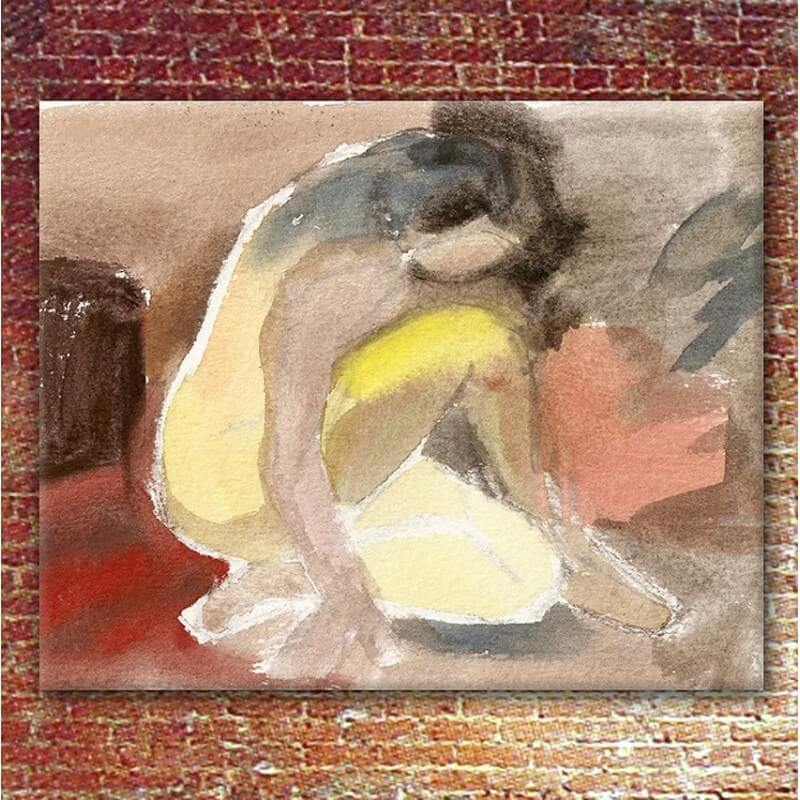 Figurative painting woman getting up