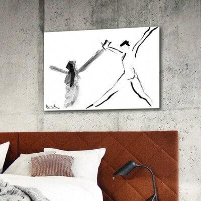 cuadros modernos figurativos para el dormitorio-mujer saltando