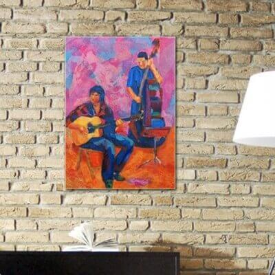 Tableaux abstraits figuratif-groupe de musiciens